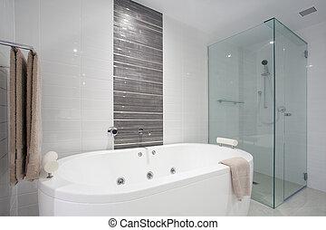 chuveiro, e, banheira banho