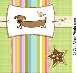 chuveiro, engraçado, cartão, cão, longo
