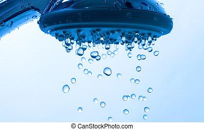 chuveiro, gota, cabeça, água