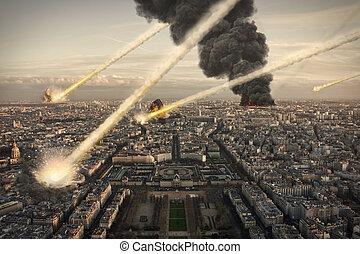 chuveiro, meteorito, sobre, cidade