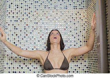 chuveiro, mulher, jovem
