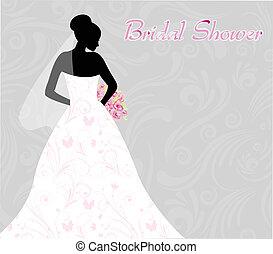 chuveiro, nupcial, silueta, noiva, convite