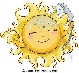 Chuveiro, sol, Levando