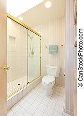 chuveiro, vidro, banheiro, branca, azulejos