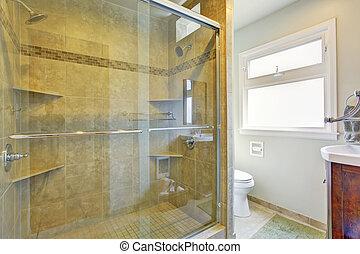 chuveiro, vidro, banheiro, modernos, porta