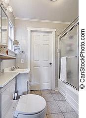 chuveiro, vidro, banheiro, porta, branca