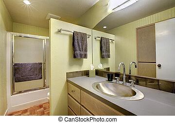 chuveiro, vidro, banheiro, porta, luminoso