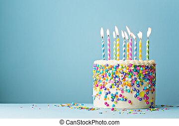 chuviscos, dez, coloridos, velas, bolo aniversário, decorado