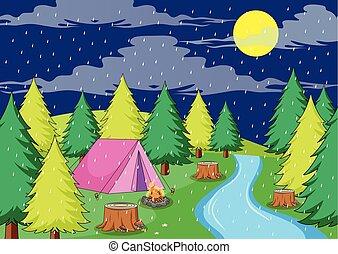 chuvoso, acampamento, noturna