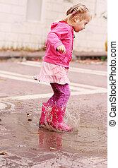 chuvoso, antigas, springtime, anos, 4, menina, adorável, dia