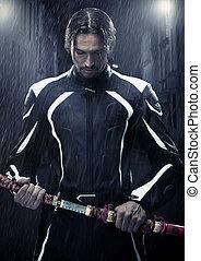 chuvoso, segurando, muscular, espada samurai, noturna, homem