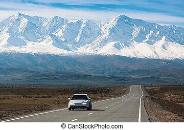 Chuya highway and mountain North-Chuya ridge of Altai mountains, Russia.