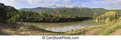 Chuya River and snow capped North Chuysky ridge.