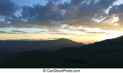 landscape in the Altai Mountains at sunset