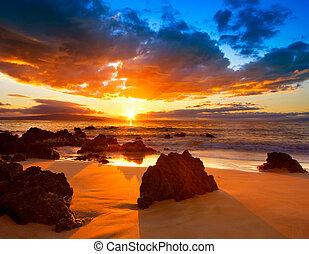 chvějící se, dramatický, západ slunce, havaj