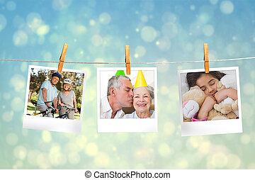 chwila, złożony wizerunek, fotografie, wisząc, kreska