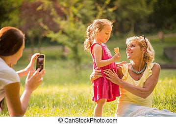 chwile, ujmując, rodzina, szczęśliwy