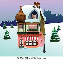 chwyćcie sztukę, dom, na, śnieg