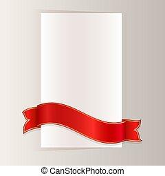 chyląc, wektor, dookoła, wstążka, papier, czerwony, czysty, template., karta