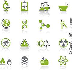 ciência, ícones, /, natura