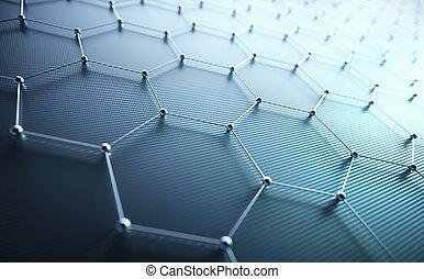 ciência, abstratos, conexão, atômico, hexagonal, tecnologia