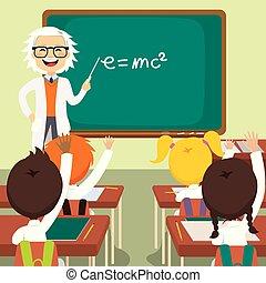 ciência, antigas, professor