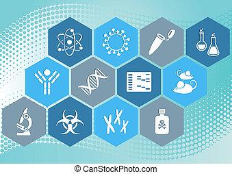 ciência, biologia, ícones
