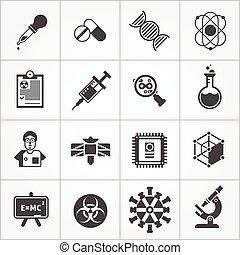 ciência, branca, jogo, pretas, ícones