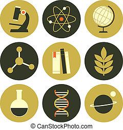 ciência, cobrança, ícones