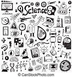 ciência, -, cobrança, doodles