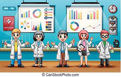 ciência, conceito, dia, mundo, cientistas