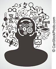 ciência, conjunto cabeça, ícones