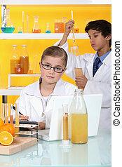 ciência, crianças, laboratório