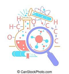 ciência, dia, ícone