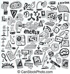 ciência, -, doodles