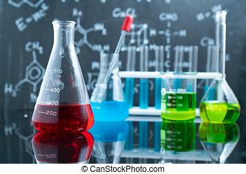 ciência, e, médico, experiência., laboratório, glassware.