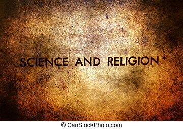 ciência, e, religião, texto, ligado, grunge, fundo