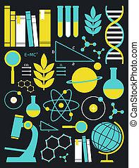 ciência, educação, jogo, ícone