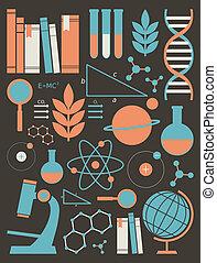 ciência, educação, jogo, ícones