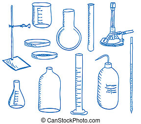 ciência, equipamento laboratório, -, doodle, estilo