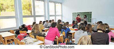 ciência, escola, química, classees