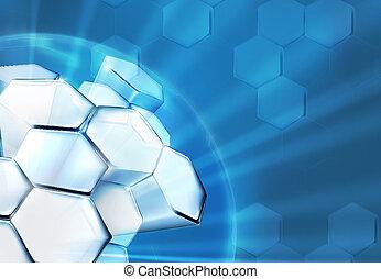 ciência, fundo, azul, 10eps