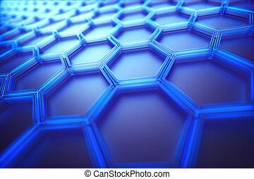 ciência, hexagonal, tecnologia, conexão, fundo