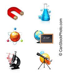 ciência, jogo, ícone