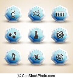 ciência, jogo, ícones