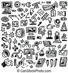 ciência, jogo, -, doodles