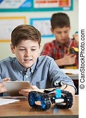 ciência, lição, robótica, pupilas, estudar