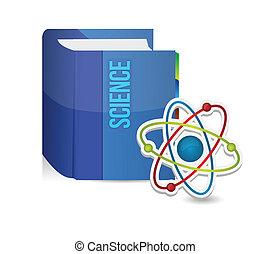 ciência, livro, ilustração, átomo