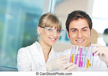 ciência, luminoso, laboratório, pessoas