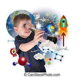 ciência, menino, explorar, e, aprendizagem, espaço